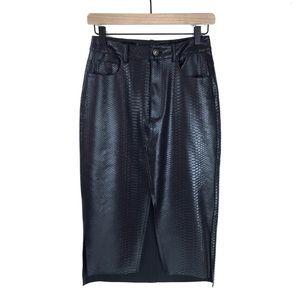 Zara Basics Faux Crocodile 5 Pocket Pencil Skirt
